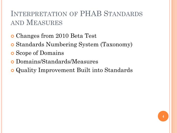 Interpretation of PHAB Standards and Measures