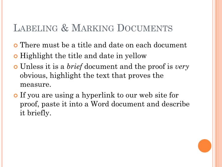 Labeling & Marking Documents