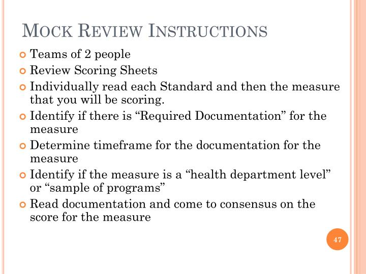 Mock Review Instructions
