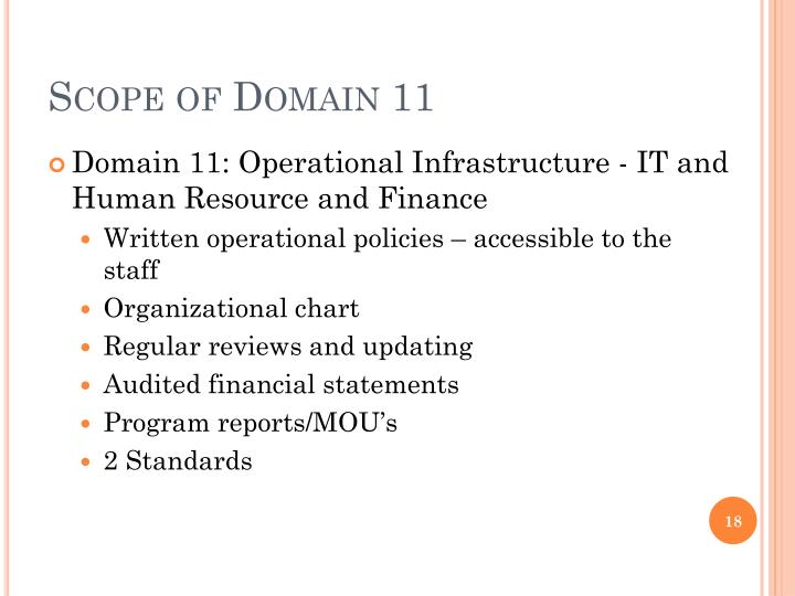 Scope of Domain 11