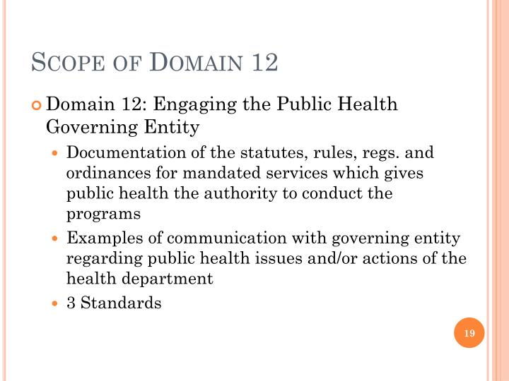 Scope of Domain 12