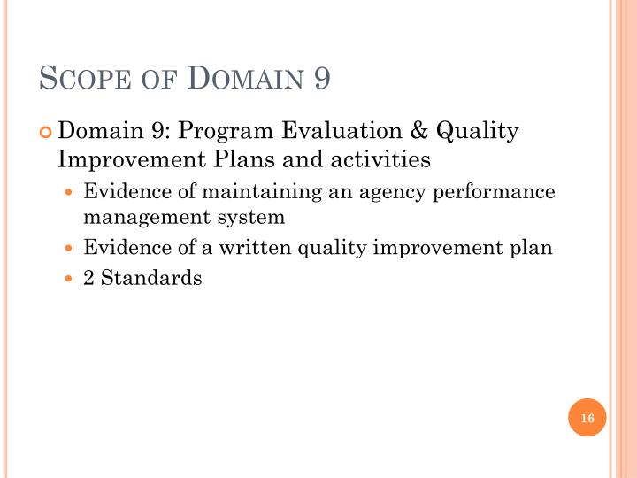 Scope of Domain 9