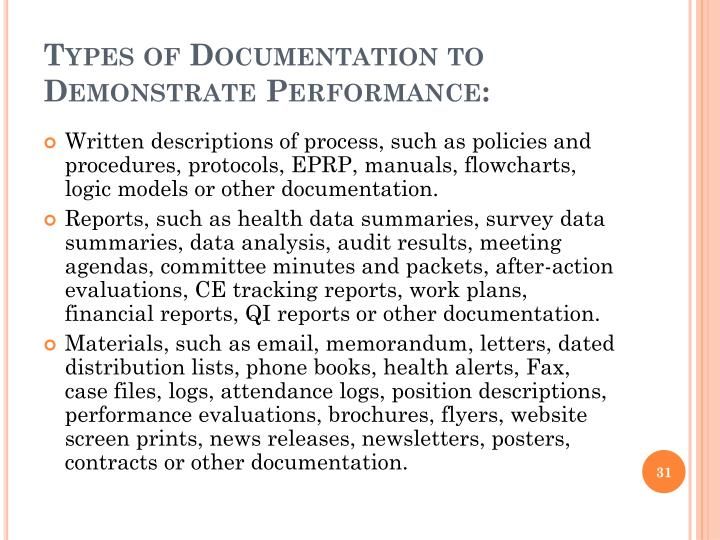 Types of Documentation to Demonstrate Performance: