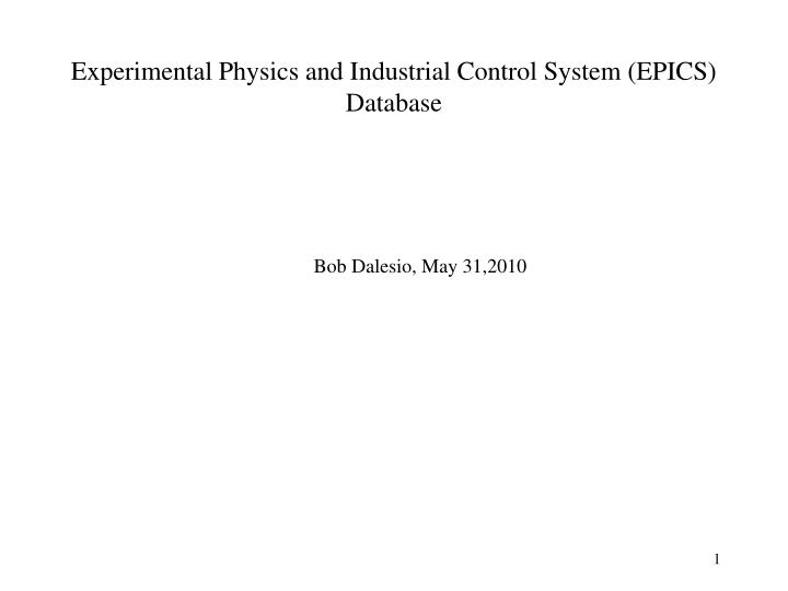 experimental physics and industrial control system epics database n.