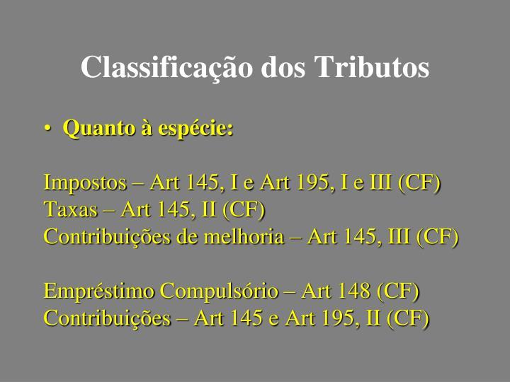 Classificação dos Tributos