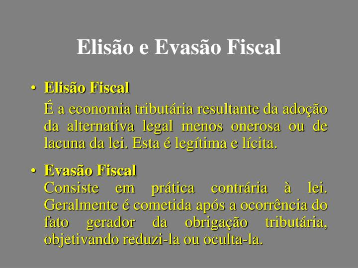Elisão e Evasão Fiscal
