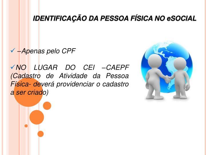 IDENTIFICAÇÃO DA PESSOA FÍSICA NO