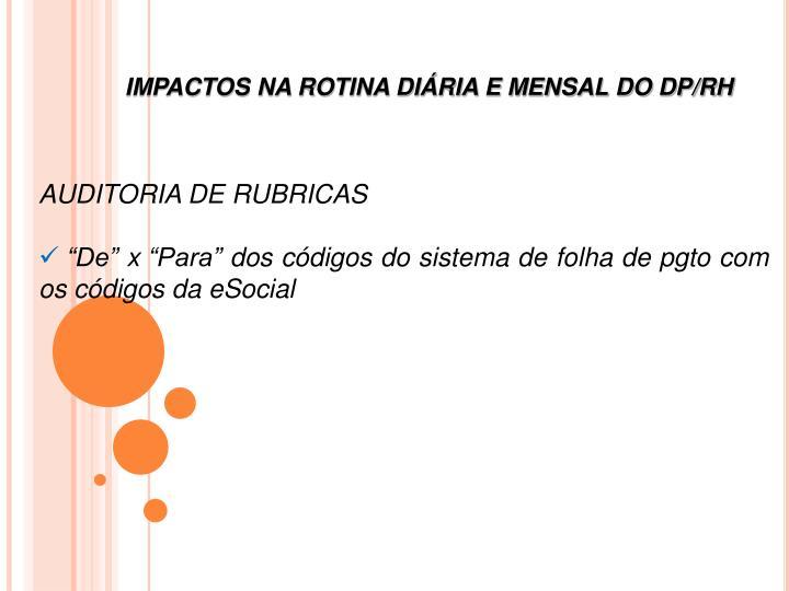 IMPACTOS NA ROTINA DIÁRIA E MENSAL DO DP/RH
