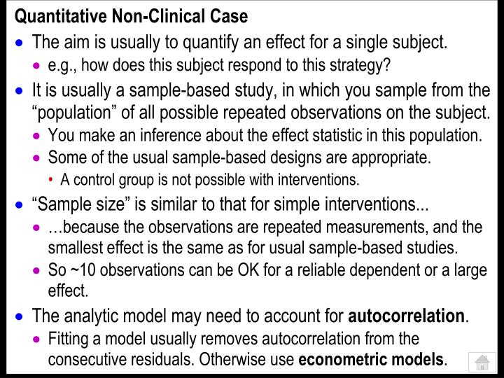 Quantitative Non-Clinical Case
