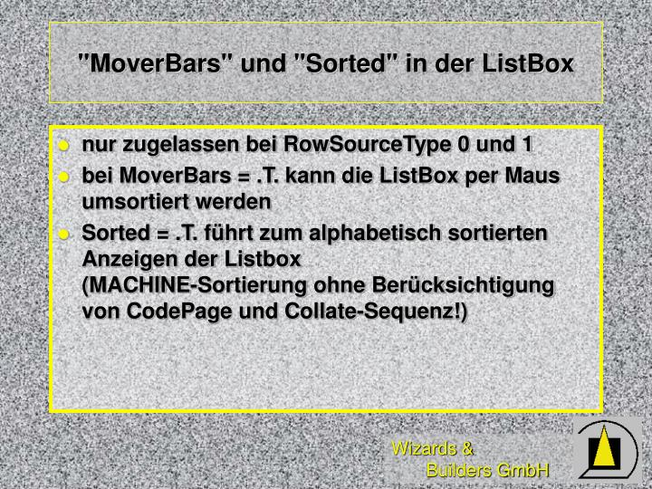 """MoverBars"" und ""Sorted"" in der ListBox"