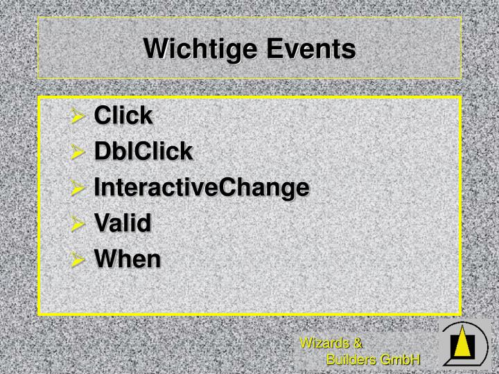 Wichtige Events