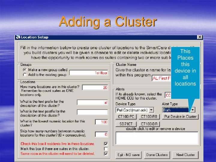Adding a Cluster