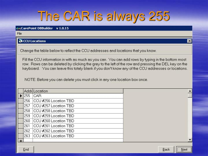 The CAR is always 255