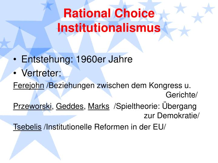 Rational Choice Institutionalismus
