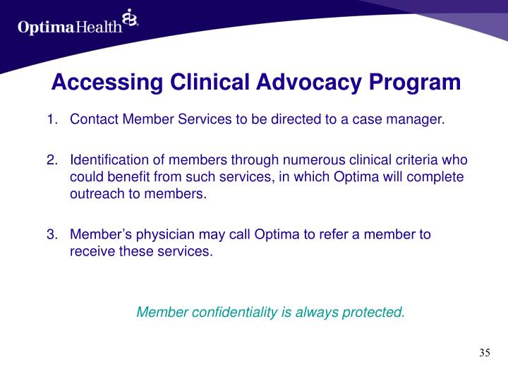 Accessing Clinical Advocacy Program