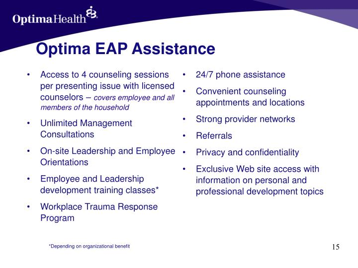 Access to 4 counseling sessions per presenting issue with licensed counselors –