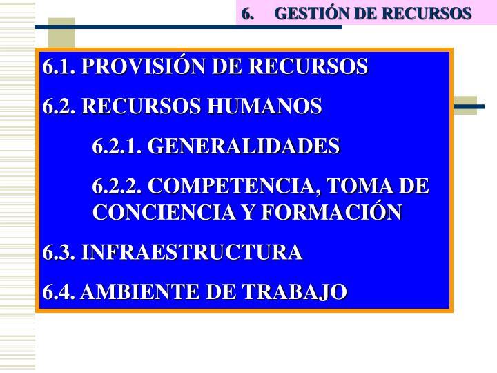 6. GESTIÓN DE RECURSOS