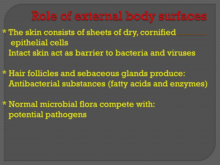 Role of external body surfaces