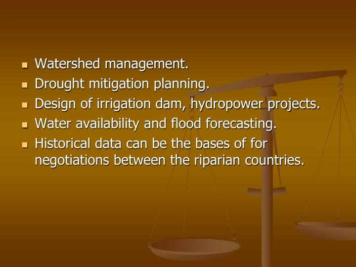 Watershed management.