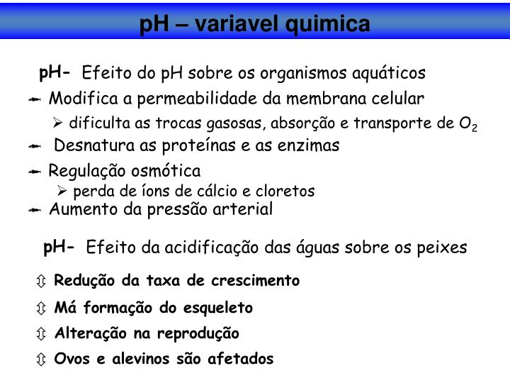 pH – variavel quimica
