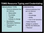 tdms resource typing and credentialing