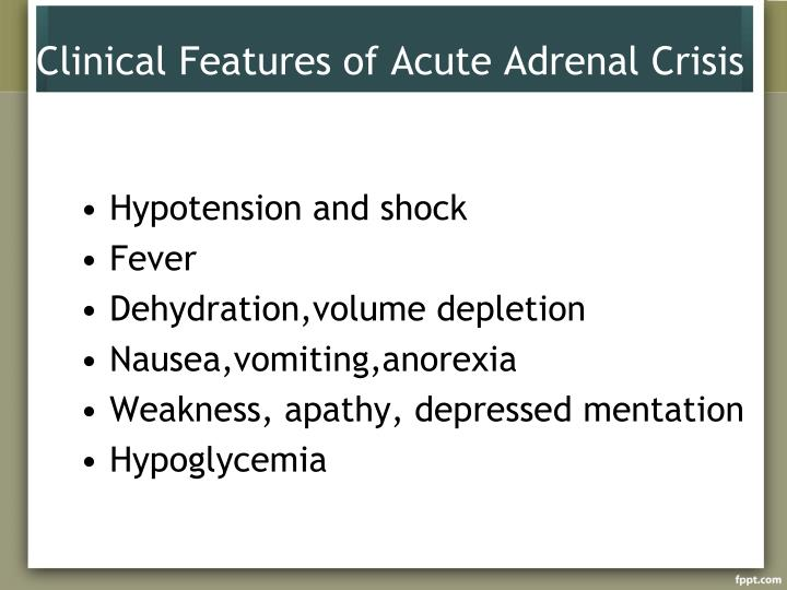 Clinical Features of Acute Adrenal Crisis
