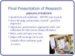 final presentation of research