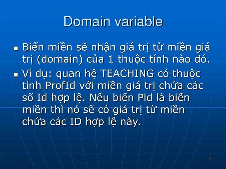 Domain variable