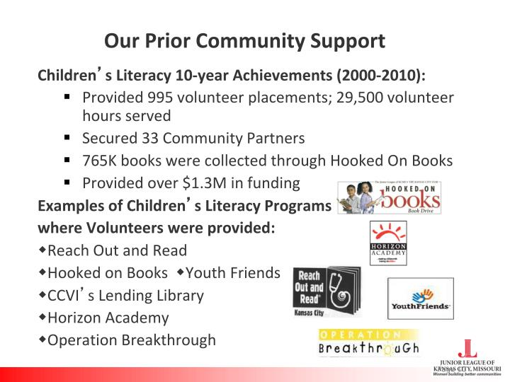 Our Prior Community Support