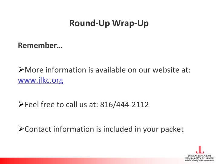 Round-Up Wrap-Up