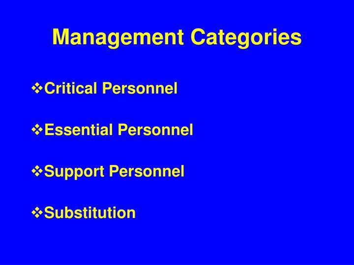Management Categories