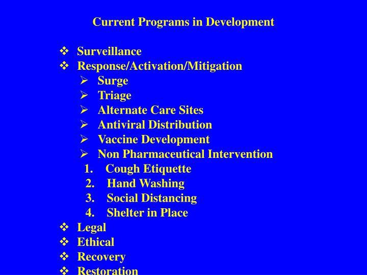 Current Programs in Development