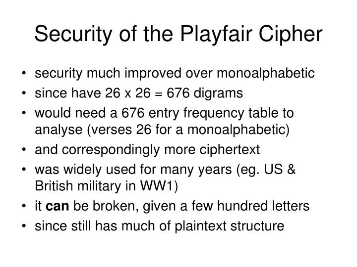 Security of the Playfair Cipher