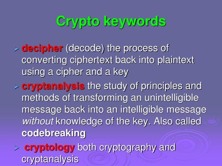 Crypto keywords