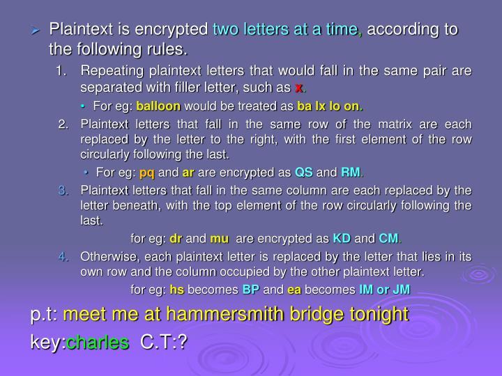 Plaintext is encrypted