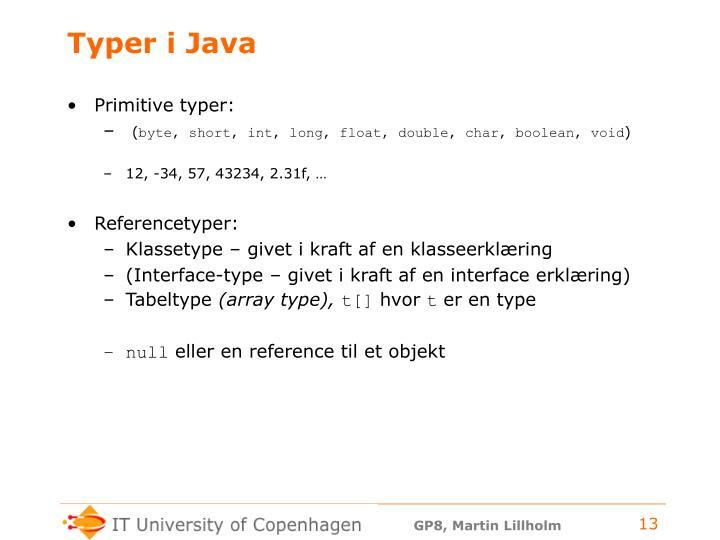 Typer i Java