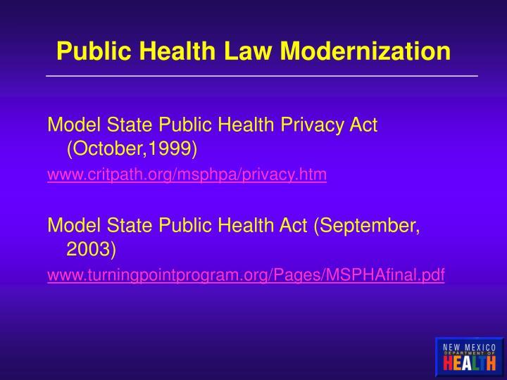 Public Health Law Modernization