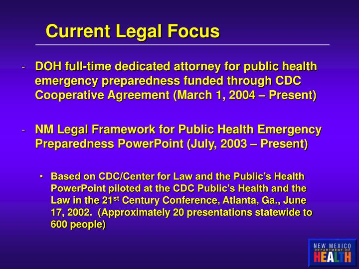 Current Legal Focus