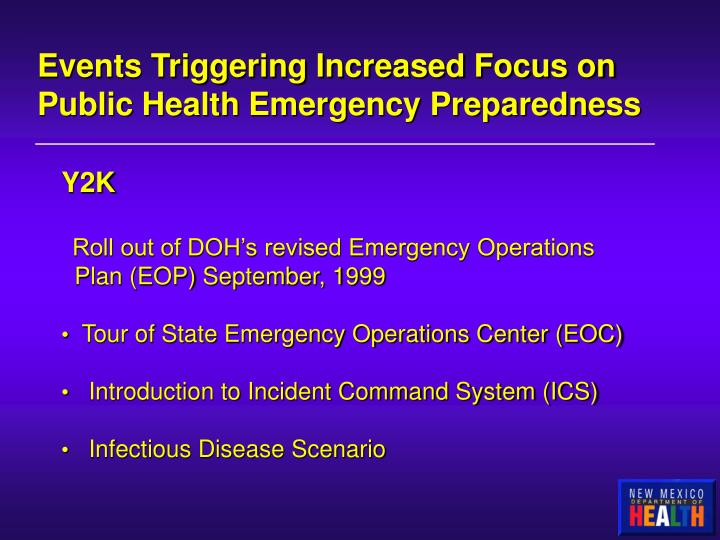Events Triggering Increased Focus on Public Health Emergency Preparedness
