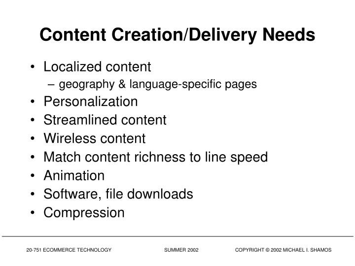 Content Creation/Delivery Needs