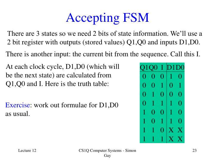 Accepting FSM