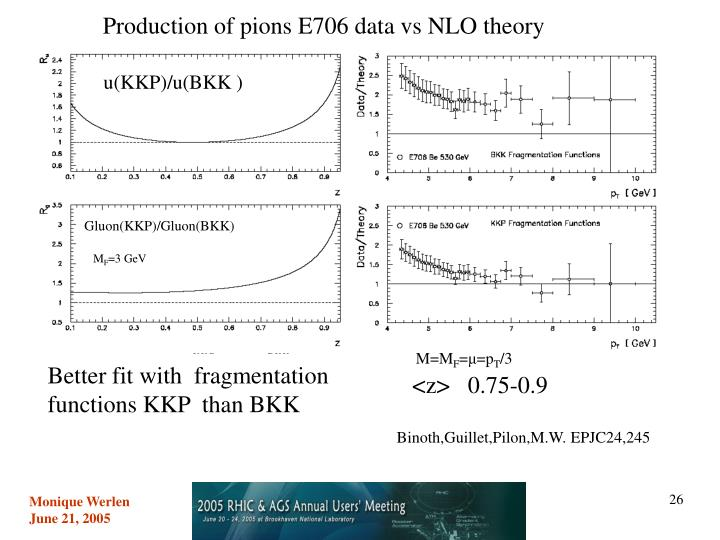 Production of pions E706 data vs NLO theory