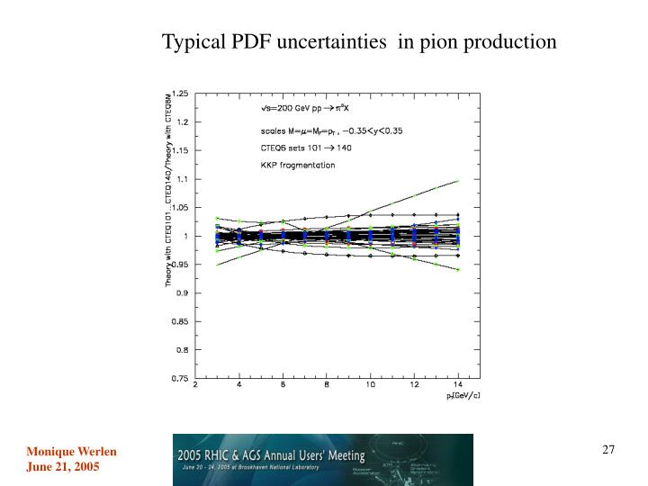 Typical PDF uncertainties  in pion production