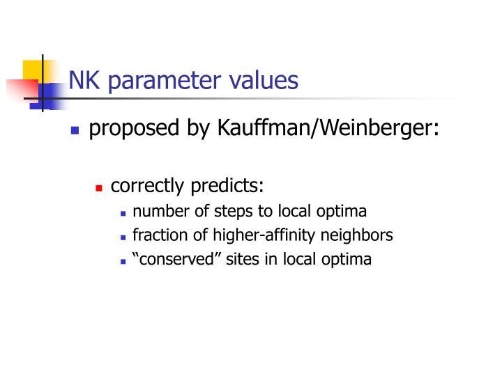 NK parameter values