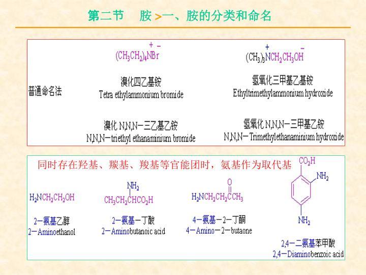 同时存在羟基、羰基、羧基等官能团时,氨基作为取代基