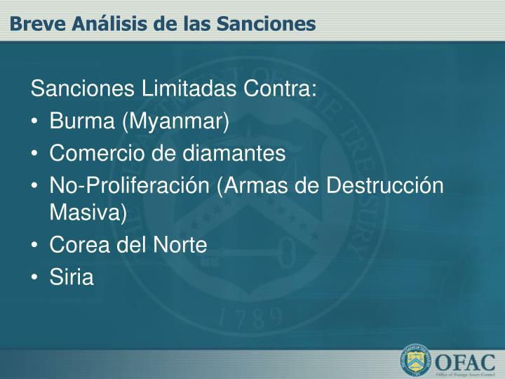 Breve Análisis de las Sanciones