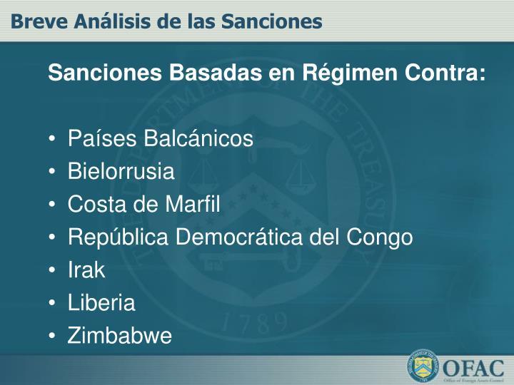 Sanciones Basadas en Régimen Contra: