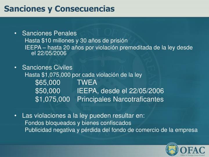 Sanciones y Consecuencias