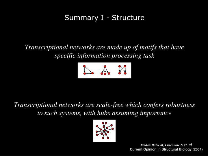 Summary I - Structure