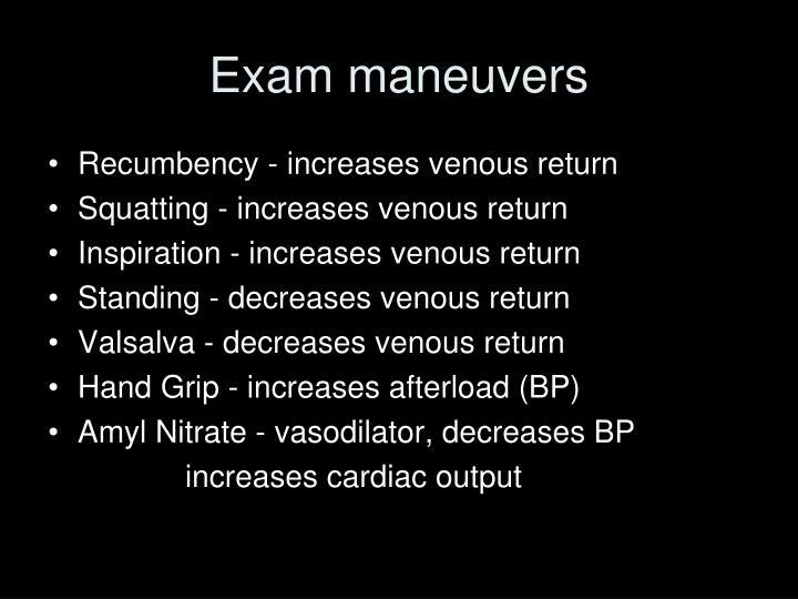 Exam maneuvers